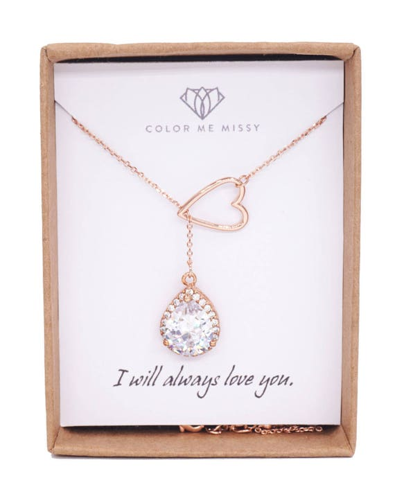 Rose Gold Luxe Cubic Zirconia Teardrop and Heart Lariat, Y Necklace, Forever Anchored, sister, best friends, mom, bridal bridesmaid