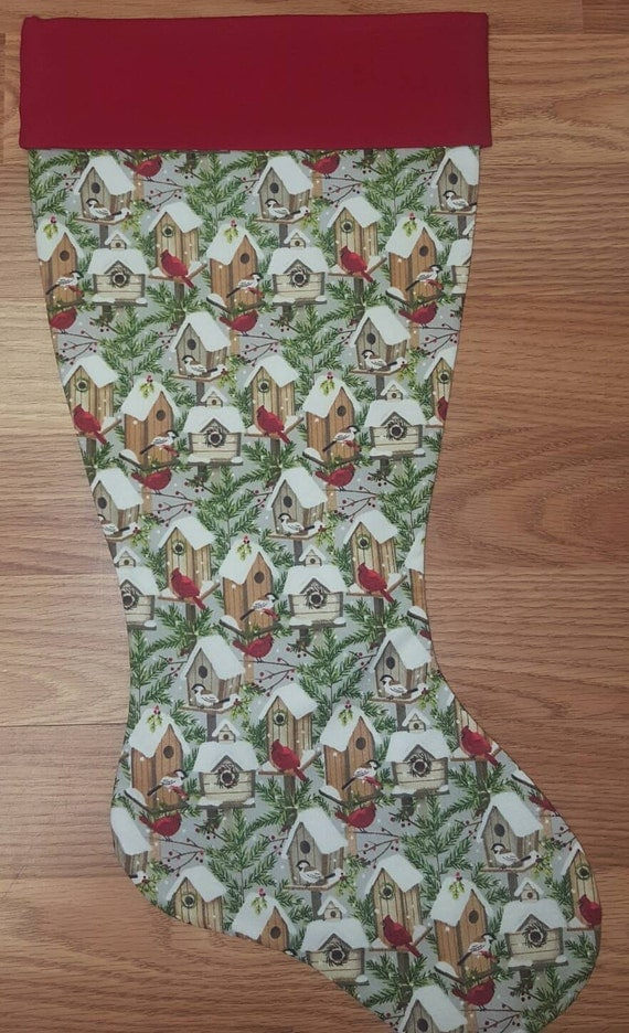 Bird House & Cardinal Christmas Stocking
