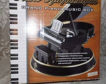 Vintage Electric Symphonique Wood Grand Piano Music Box W/10 Engraved Song Discs Moving Keys By Mr. Christmas