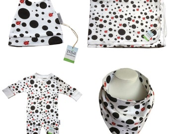 Organic Cotton Dotty Ladybird Set - Babygrow, bib, hat and blanket all made using 100% organic cotton.
