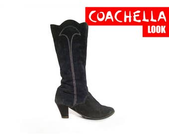 80s GYPSY boots BOHEMIAN boots TALL boots suede boots witch boots boho boots witchy boots slouchy boots / Size 7 us / 4.5 uk / 37.5 eu