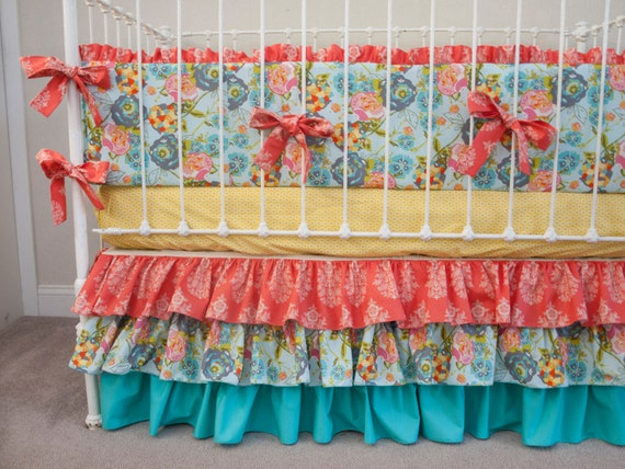 items similar to lillybelle garden rocket turquoise baby girl crib cot bedding in turquoise. Black Bedroom Furniture Sets. Home Design Ideas