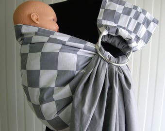 Baby Sling Ring/Baby Carrier/Reversible Baby ring Sling/ gray,white color