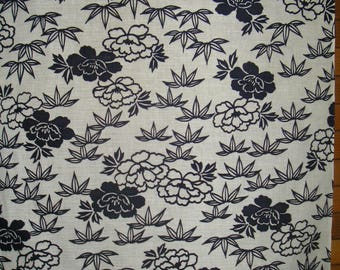 "FABRIC Vintage Japanese Cotton Indigo Yukata Fabric Unused Navy Blue & White Bamboo Peonies Indigo Japanese Kimono Fabric 13 1/2"" W X 36"" L"