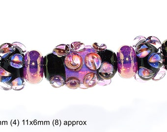 Handmade Borosilicate 22k gold fumed white opal and Black Glass Beads
