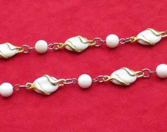 Vintage White Beaded Linked Necklace TLC