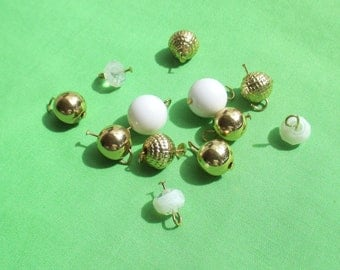 Lot Of Retro Salvaged  Gold & White Colored Beaded Dangles