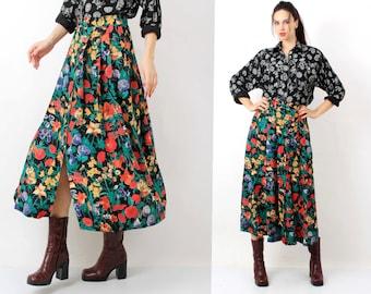 Vintage print Floral Skirt / Gerry Weber / Floral Long Skirt / Button Down Skirt / Maxi Skirt / Summer Skirt / Size L
