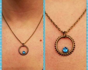 Gear necklace with blue Beading