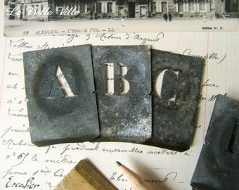 Vintage French alphabet stencil - Small zinc letter - Metal template - Initial F, G, H, K, V, X, Y, Z