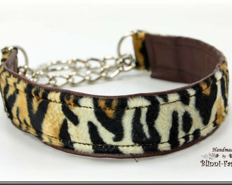Dog collar AFRICA, Martingale, with decorativ chain, brown