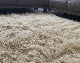 100% Pure Organic Handwoven Wool Area Rug Flokati Rug Transylvania Wool Bed Throw Traditional Romanian Bedcover Wool Blanket Shaggy shag Rug