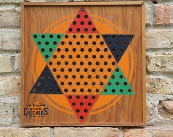 The Original Star Checkers Board ~ Wood ~ Vintage Chinese Checkers Game ~ Wall Decor