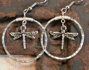 Dragonfly Earrings, Handmade Earrings, Textured Wire Earrings, Hoop Earrings with Dragonflies