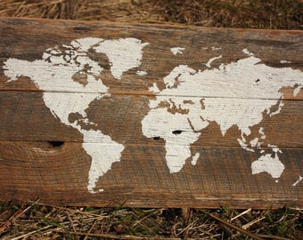 SALE World Map on reclaimed wood - Small G