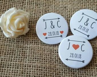 Bulk OFFER - Quirky love arrows Wedding Badges / Wedding favours