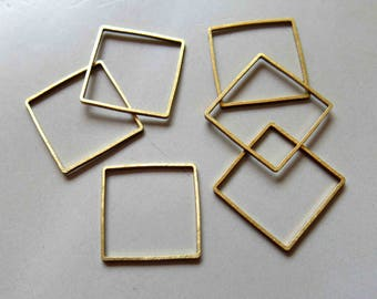 100pcs Raw Brass Square Rings , Findings 25mm - F403