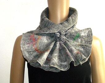 Gray Felted Scarf Neckpiece Collar Fiber Art Scarf