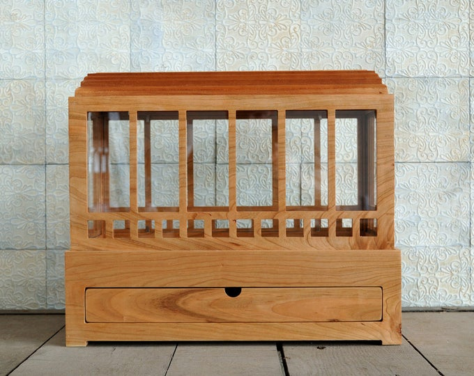 Mission Style Solid Cherry Wardian Case with Drawer, Terrarium, Indoor Planter with drawer~ for plants, succulents, or herbs