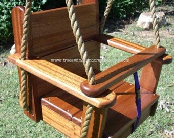 Combo Deal- Kids Sapele Seat Swing AND Sapele Disc Tree Swing