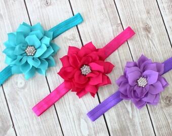 Baby Flower Headbands, Hot Pink Headband, Baby Headband, Teal Headband, Baby Girl Headbands