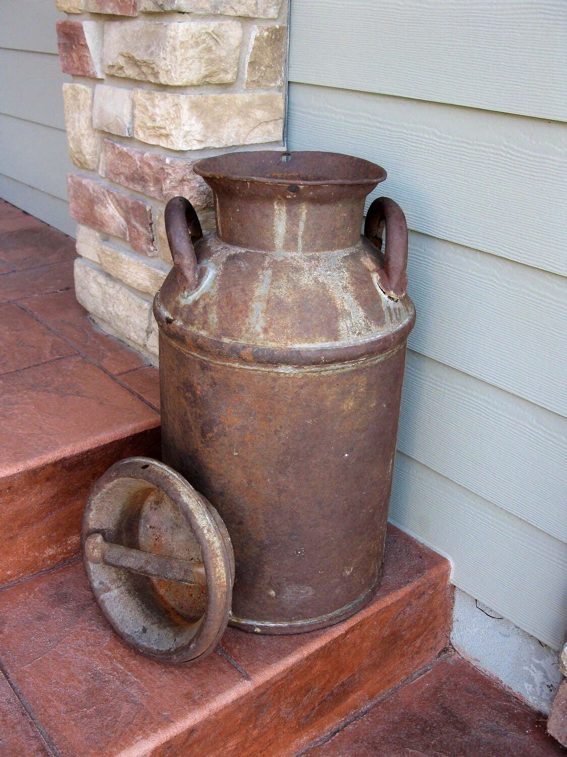 Large Metal Milk Can Cream Can With Lid 25 Rusty
