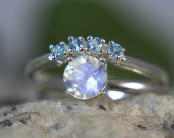 MOONSTONE- Rainbow Moonstone and Swiss Blue Topaz Sterling Engagement & Wedding Ring Set!