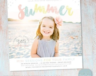 Summer Mini Session Photography Template - Photoshop - IH017 - INSTANT DOWNLOAD