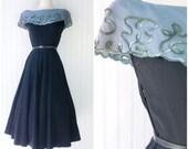 black gabardine & blue crepe midi cocktail dress / sequin trimed collar / vtg 40s pinup dress / full skirt / metal zipper / textured fabric