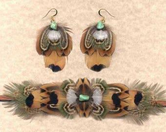 CUSTOM Pheasant Feather Choker and Earring Set