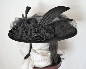 Steampunk Hat, Victorian Hat, Edwardian Hat, Titanic, Black