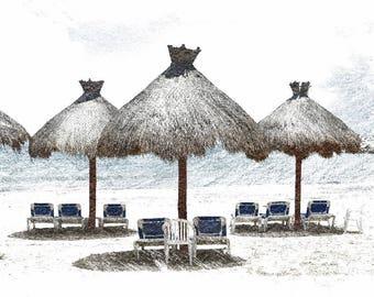 Beach Umbrellas, Cancun, Mexico