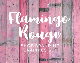 Rustic Pink Wood Shop Branding Banners, Avatar Icons, Business Card, Logo Label + More - 13 Premade Graphics Files - FLAMINGO ROUGE