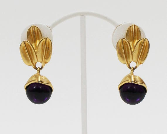 60s Retro Gold and Purple Earrings - Vintage 1960s Gold Leaf Earrings