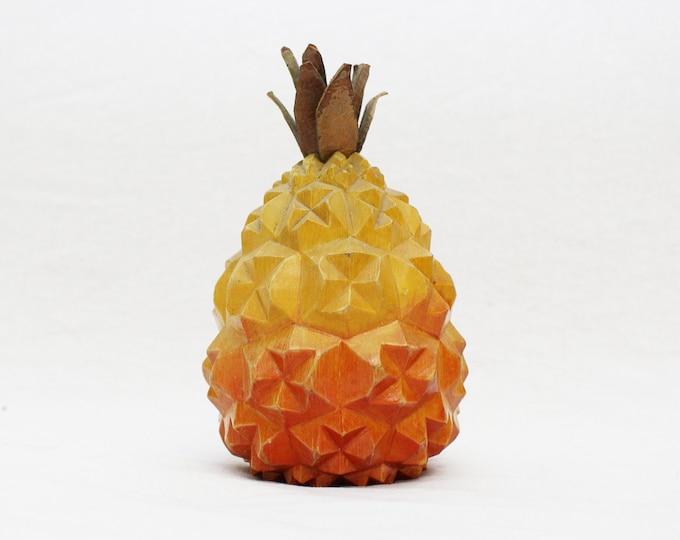 Vintage 1970s Carved Pineapple Sculpture - Home Decor