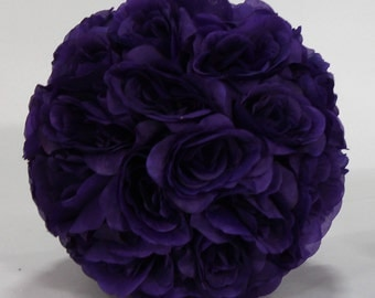 Silk kissing pomander flower ball PURPLE
