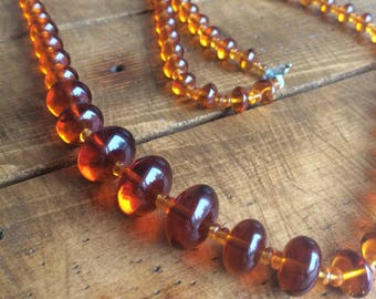 Vintage Amber Glass Graduated Bead Necklace
