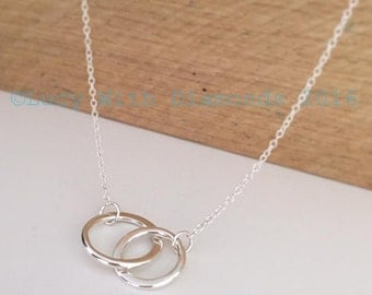 """Double link necklace loops interlinked 18"""" Mothers Day Gift"""