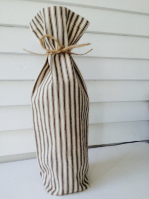 Wine gift bag, rustic brown striped wine bag, brown ticking stripe bag, reusable wine gift bag, fall gift, Thanksgiving wine gift