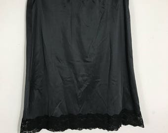 Vintage Black Half Slip With Lace Trim Size Large