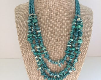 Turquoise stone bead necklace with silver accents