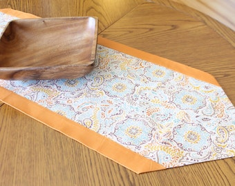 Table Runner, Orange Multi-Color with Gold, Eggplant, Blue & Yellow, Home Decor, Contemporary