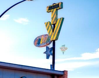 Flash Color TV Sign.  Mid-Century Retro! Tucson, Arizona. Fine Art Archival Photograph, Signed with COA