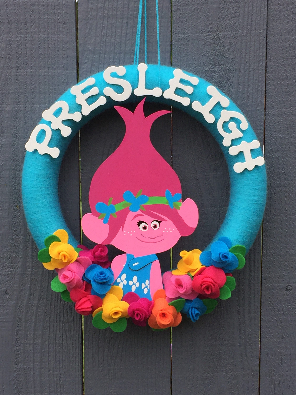 Girls Trolls Bedroom: Trolls Wreath // Poppy Pink Troll // Birthday Party Decor