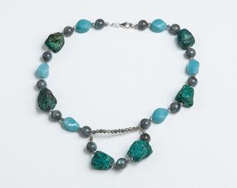 Amazonite, Labradorite, and Turquoise Gemstone Necklace
