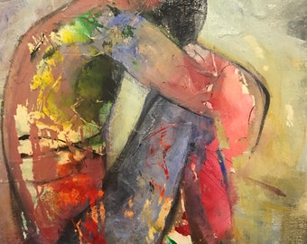Colourful abstract figurative original acrylic painting