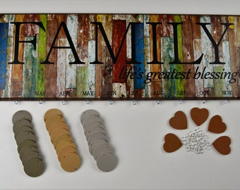 Family Birthday Board BLessings Reclaimed Wood Look FBRCK