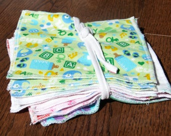 upcycled cloth wipes, Reusable cloths, wash cloths, family cloth,  (15pk) double layer