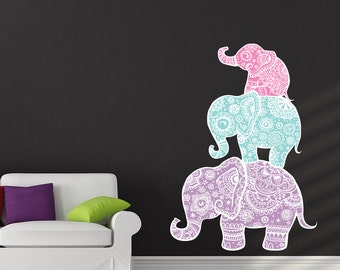 Elephant Wall Decal Full Color Sticker for Nursery Elephant Family Decals Boho Design AL4