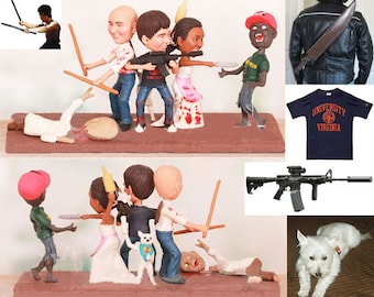 Personalised wedding cake topper - Zombie Fighting Wedding Cake Toppers (Free shipping)